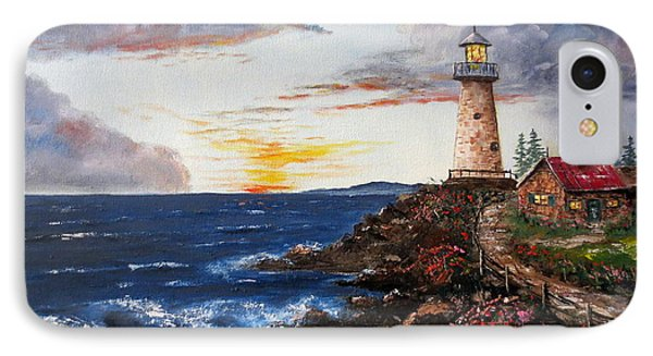 Lighthouse Road At Sunset Phone Case by Lee Piper