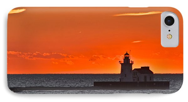 Lighthouse Sunset Phone Case by Frozen in Time Fine Art Photography