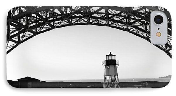 Lighthouse Under Golden Gate IPhone Case by Holly Blunkall