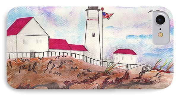 Lighthouse With Colorful Sky IPhone Case by Milton Rogers