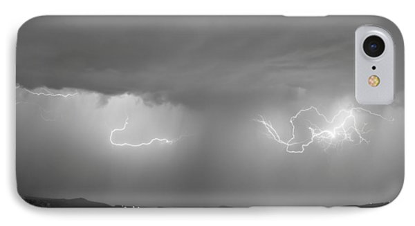 Lightning And Rain Over Rocky Mountain Foothills Bw Phone Case by James BO  Insogna