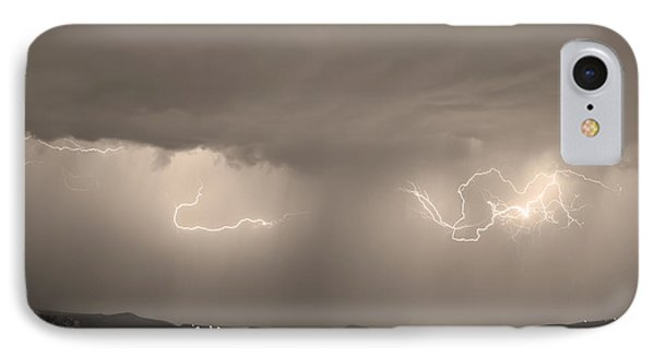 Lightning And Sepia Rain Over Rocky Mountain Foothills Phone Case by James BO  Insogna
