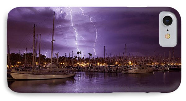 Lightning Behind Santa Barbara Harbor  Mg_6541 IPhone Case by David Orias