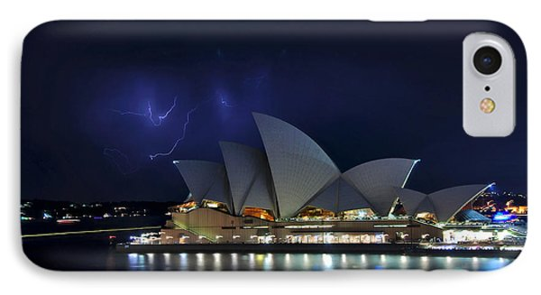 Lightning Behind The Opera House Phone Case by Kaye Menner