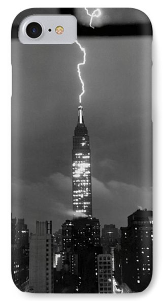 Lightning Hits Empire State IPhone Case