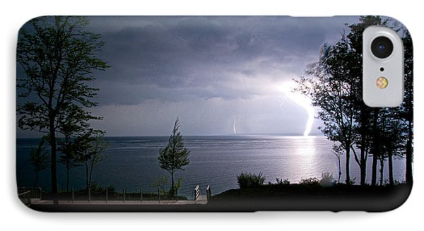 Lightning On Lake Michigan At Night Phone Case by Mary Lee Dereske