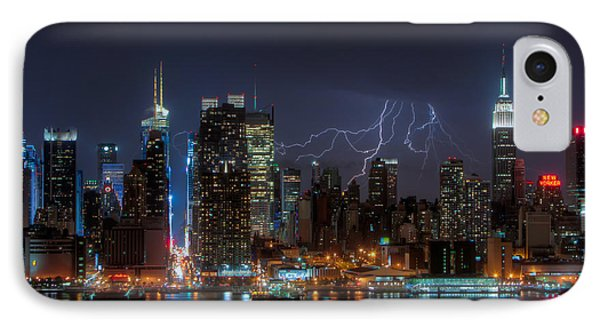 Lightning Over New York City IIi Phone Case by Clarence Holmes