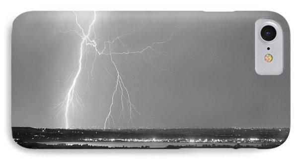 Lightning Strike Boulder Reservoir And Coot Lake Bw Phone Case by James BO  Insogna