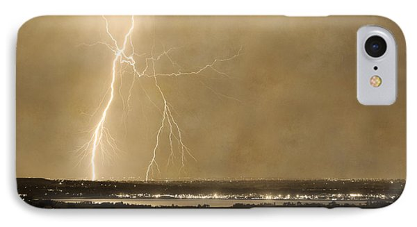 Lightning Strike Boulder Reservoir And Coot Lake Sepia 2 Phone Case by James BO  Insogna