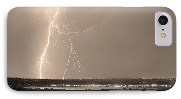 Lightning Strike Boulder Reservoir And Coot Lake Sepia Phone Case by James BO  Insogna