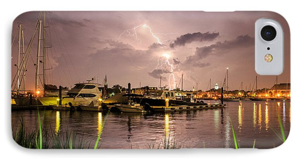 IPhone Case featuring the photograph Lightning Strikes Annapolis by Jennifer Casey