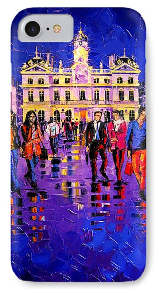 Lights And Colors In Terreaux Square IPhone Case by Mona Edulesco