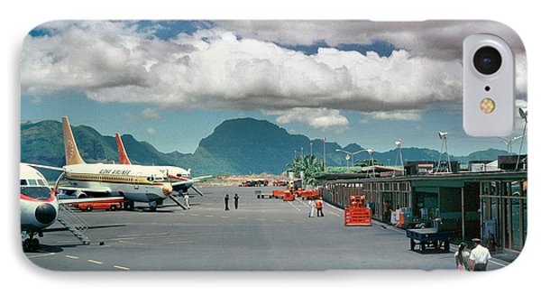 Lihue Airport With Cumulus Clouds In Kauai Hawaii  IPhone Case by Wernher Krutein