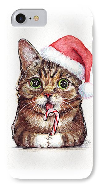 Lil Bub Cat In Santa Hat IPhone Case by Olga Shvartsur