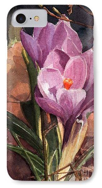 Lilac Crocuses IPhone Case by Greta Corens
