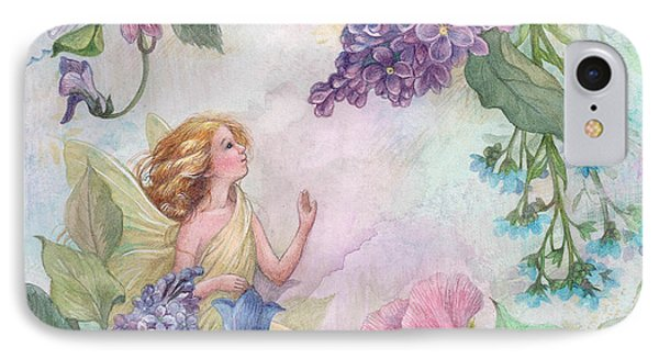 Lilac Enchanting Flower Fairy IPhone Case by Judith Cheng