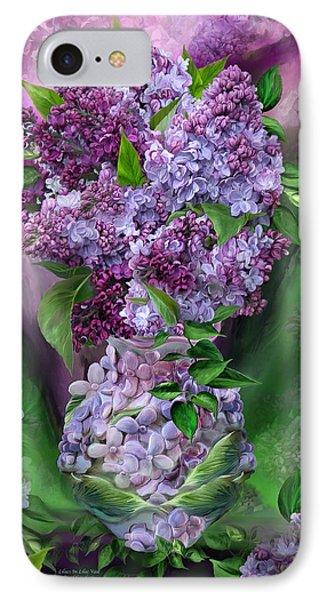 Lilacs In Lilac Vase IPhone Case by Carol Cavalaris