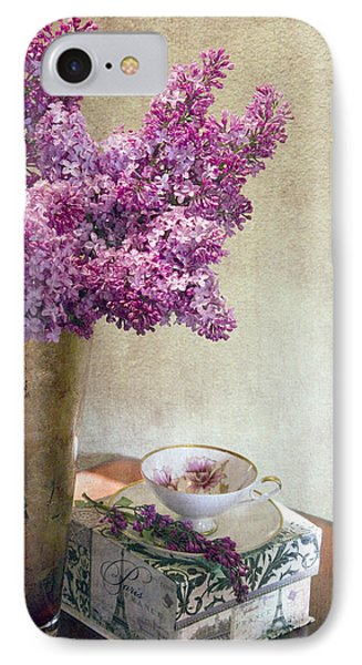 Lilacs In Vase 3 IPhone Case by Rebecca Cozart