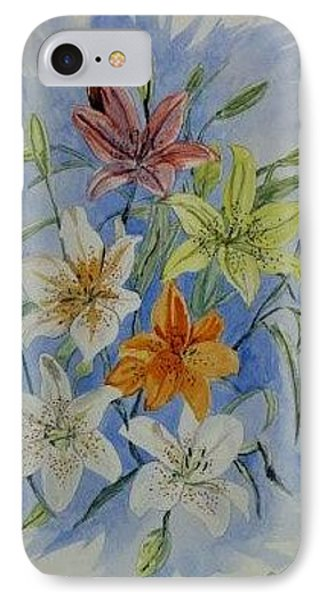 IPhone Case featuring the painting Lillies In The Primary by Kevin F Heuman