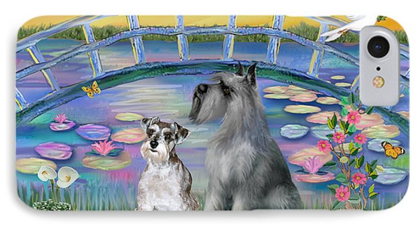 Lily Bridge With Twoo Schnauzers IPhone Case by Jean B Fitzgerald