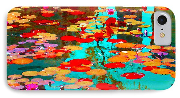 Lily Pads And Koi Colorful Water Garden In Bloom Waterlilies At The Lake Quebec Art Carole Spandau  IPhone Case by Carole Spandau