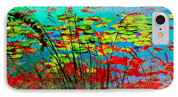 Lily Pads And Reeds Colorful Water Gardens Grasslands Along The Lachine Canal Quebec Carole Spandau IPhone Case by Carole Spandau