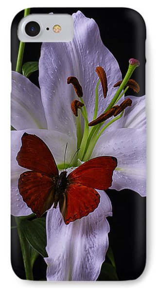 Lily With Red Butterfly IPhone Case by Garry Gay