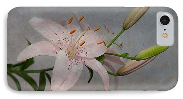 IPhone Case featuring the photograph Pink Lily With Texture by Patti Deters