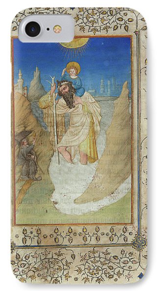 Limbourg Brothers, Saint Christopher Carrying The Christ IPhone Case