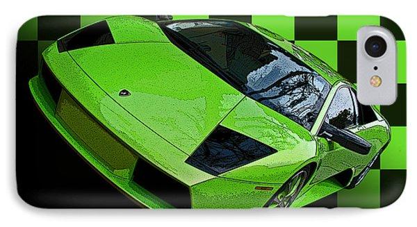 Lime Green Lamborghini Murcielago With Checkerboard Phone Case by Samuel Sheats