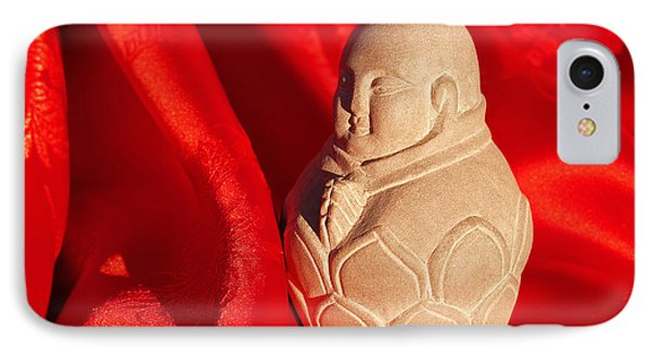 Limestone Buddha On Red Silk Phone Case by Anna Lisa Yoder