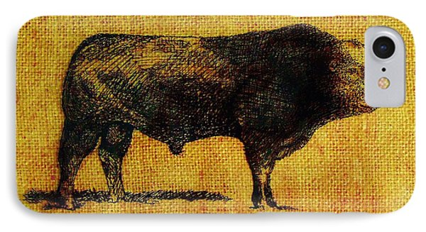 IPhone Case featuring the drawing French Limousine Bull 12 by Larry Campbell