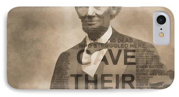 Lincoln Gettysburg Address Typography IPhone Case by Dan Sproul
