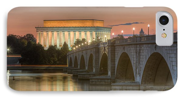 Lincoln Memorial And Arlington Memorial Bridge At Dawn I IPhone Case