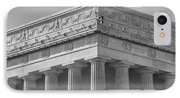 Lincoln Memorial Columns Bw Phone Case by Susan Candelario