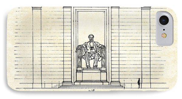 Lincoln Memorial Sketch IPhone 7 Case by Gary Bodnar