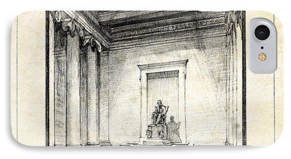 Lincoln Memorial Sketch IIi IPhone 7 Case by Gary Bodnar