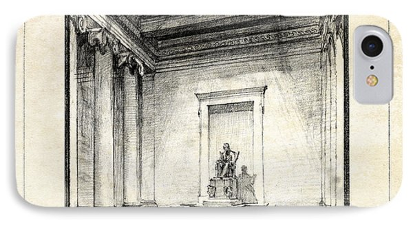 Lincoln Memorial Sketch IIi IPhone Case by Gary Bodnar