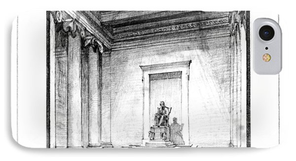 Lincoln Memorial Sketch IIi IPhone 7 Case by Gary Bodnar
