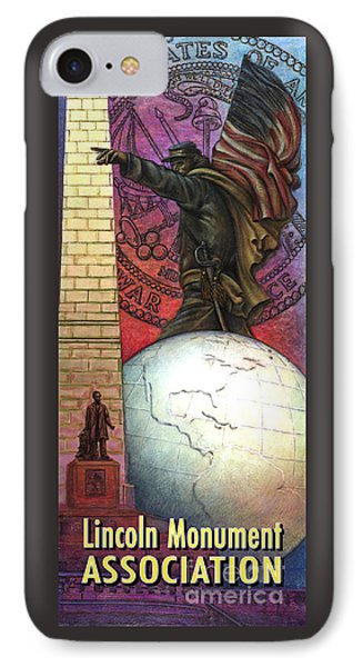 IPhone Case featuring the painting Lincoln Monuments Street Banners Civil War Flag Bearer by Jane Bucci