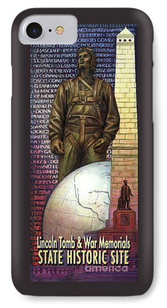 IPhone Case featuring the painting Lincoln Tomb And War Memorials Street Banners Korean War Pilot by Jane Bucci