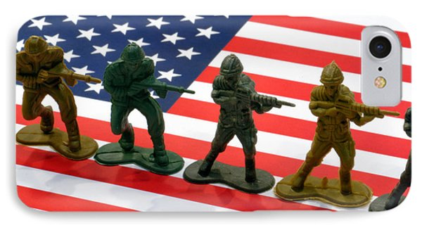 Line Of Toy Soldiers On American Flag Crisp Depth Of Field Phone Case by Amy Cicconi