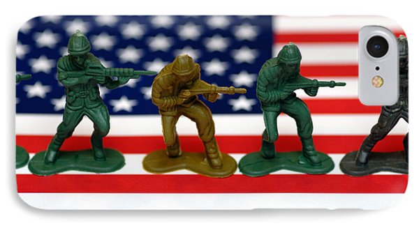 Line Of Toy Soldiers On American Flag Shallow Depth Of Field Phone Case by Amy Cicconi