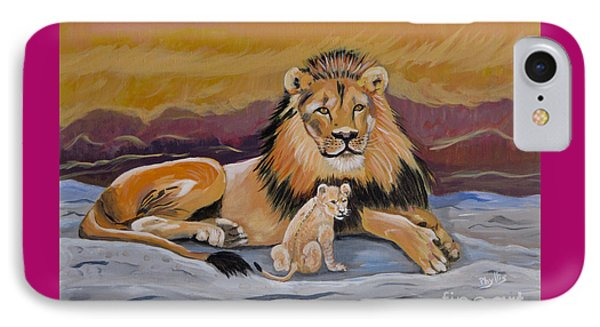 IPhone Case featuring the painting Lion And Cub by Phyllis Kaltenbach
