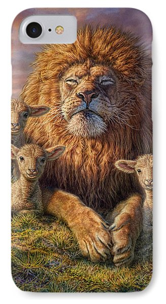 Lion iPhone 7 Case - Lion And Lambs by Phil Jaeger