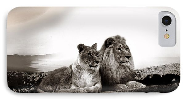 Lion Couple In Sunset IPhone Case by Christine Sponchia