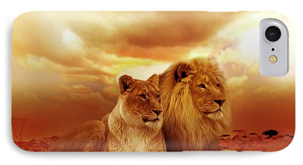 Lion Couple Without Frame IPhone Case by Christine Sponchia