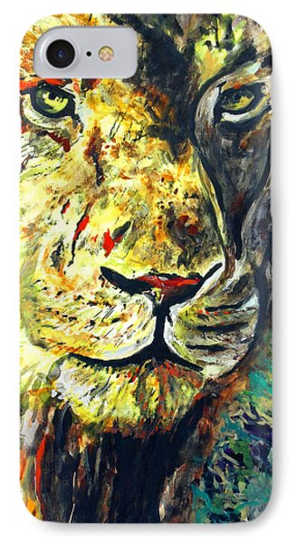 IPhone Case featuring the painting Lion by Daniel Janda