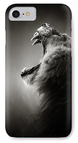 Nature iPhone 7 Case - Lion Displaying Dangerous Teeth by Johan Swanepoel