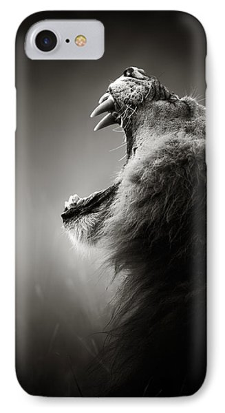 Cat iPhone 7 Case - Lion Displaying Dangerous Teeth by Johan Swanepoel